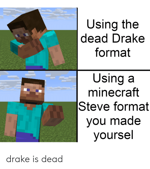 Using The Dead Drake Format Using A Minecraft Steve Format You Made Yoursel Drake Is Dead Drake Meme On Me Me