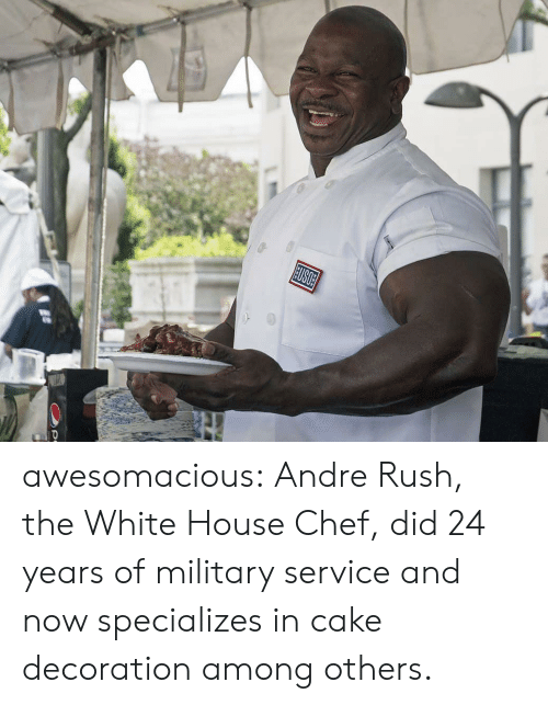 Tumblr, White House, and Blog: USOE awesomacious:  Andre Rush, the White House Chef, did 24 years of military service and now specializes in cake decoration among others.