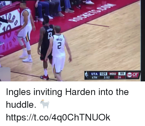 Sizzle: UTA 109 HOU99 NOT  4TH 2:52 Ingles inviting Harden into the huddle. 🐐 https://t.co/4q0ChTNUOk