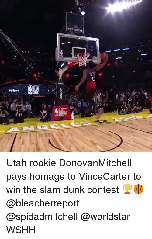 Dunk, Memes, and Worldstar: Utah rookie DonovanMitchell pays homage to VinceCarter to win the slam dunk contest 🏆🏀 @bleacherreport @spidadmitchell @worldstar WSHH