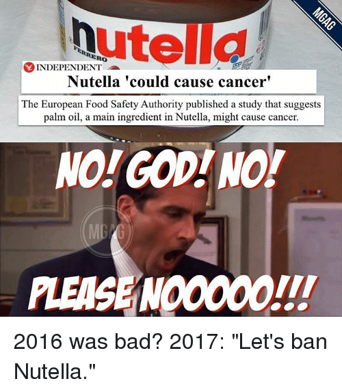 """Memes, Maine, and Nutella: utella  INDEPENDENT  Nutella could cause cancer'  The European Food Safety Authority published a study that suggests  palm oil, a main ingredient in Nutella, might cause cancer.  NO GOD NO!  PLEASE NO0000 2016 was bad? 2017: """"Let's ban Nutella."""""""