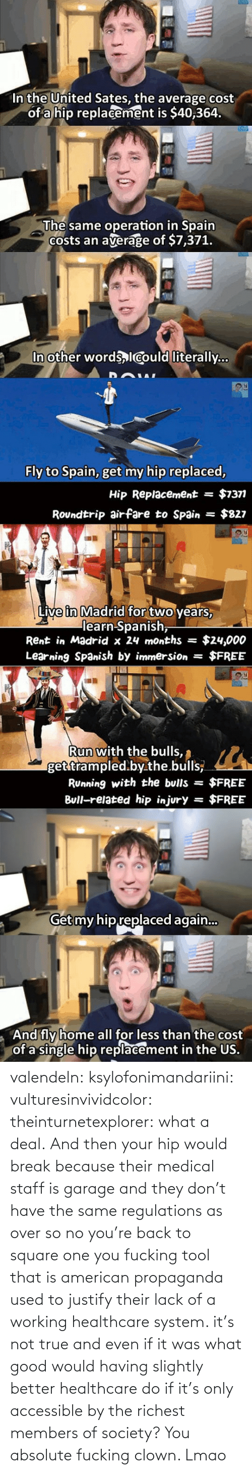 Lmao, True, and Tumblr: valendeln:  ksylofonimandariini:  vulturesinvividcolor:   theinturnetexplorer:  what a deal.   And then your hip would break because their medical staff is garage and they don't have the same regulations as over so no you're back to square one you fucking tool    that is american propaganda used to justify their lack of a working healthcare system. it's not true and even if it was what good would having slightly better healthcare do if it's only accessible by the richest members of society?      You absolute fucking clown. Lmao