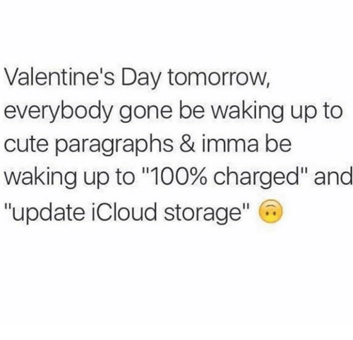 """Anaconda, Cute, and Relationships: Valentine's Day tomorrow,  everybody gone be waking up to  cute paragraphs & imma be  Waking up to """"100% charged"""" and  """"update iCloud storage"""" C"""