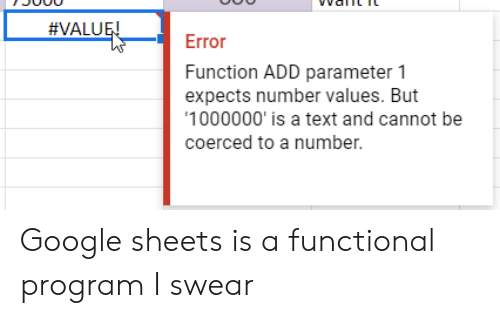 VALUE! Error Function ADD Parameter 1 Expects Number Values