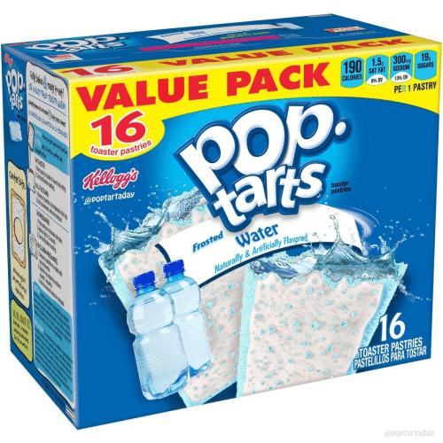 Water, Fat, and Sat: VALUE PACK ,,  16  mg  SAT FAT SODIUM SUGARS  840 DV  1396 DV  op.  PER 1 PASTRY  toaster pas  pastries  @poptartaday  toaster  pastries  Water  Naturally &Artificially Flavored a  Froste  16  TOASTER PASTRIES  PASTELILLOS PARA TOSTAR  @poptarfaday