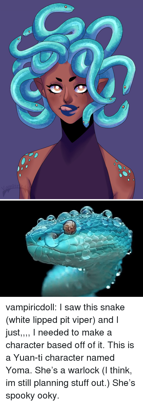 Saw, Target, and Tumblr: vampiricdoll:  I saw this snake (white lipped pit viper) and I just,,,, I needed to make a character based off of it. This is a Yuan-ti character named Yoma. She's a warlock (I think, im still planning stuff out.) She's spooky ooky.