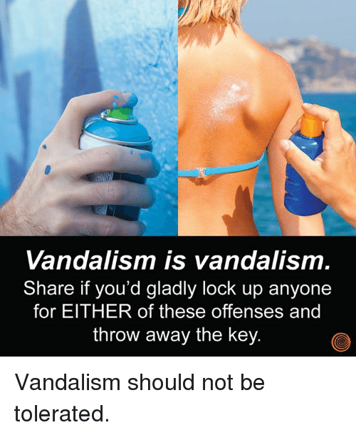 Dank, 🤖, and Vandalism: Vandalism is vandalism.  Share if you'd gladly lock up anyone  for EITHER of these offenses and  throw away the key Vandalism should not be tolerated.