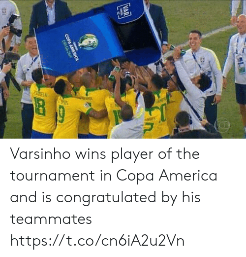 America, Memes, and Copa America: VAR  in  COPA AMERICA  CRASit cos Varsinho wins player of the tournament in Copa America and is congratulated by his teammates https://t.co/cn6iA2u2Vn