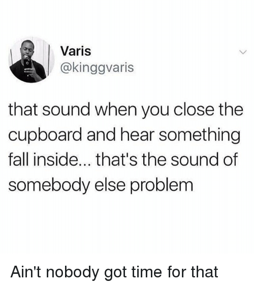 Fall, Memes, and Ain't Nobody Got Time for That: Varis  @kinggvaris  that sound when you close the  cupboard and hear something  fall inside... that's the sound of  somebody else problem Ain't nobody got time for that