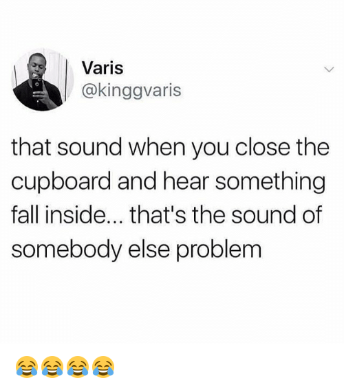 Fall, Memes, and 🤖: Varis  @kinggvaris  that sound when you close the  cupboard and hear something  fall inside... that's the sound of  somebody else problem 😂😂😂😂