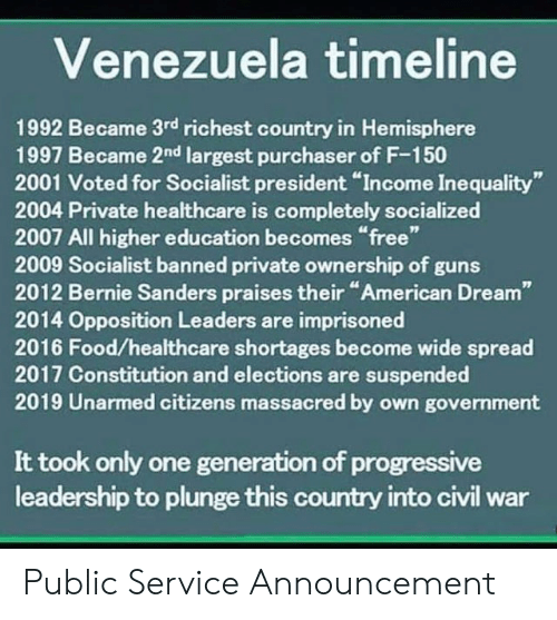 "Bernie Sanders, Food, and Guns: Venezuela timeline  1992 Became 3rd richest country in Hemisphere  1997 Became 2nd largest purchaser of F-150  2001 Voted for Socialist president ""Income Inequality""  2004 Private healthcare is completely socialized  2007 All higher education becomes ""free""  2009 Socialist banned private ownership of guns  2012 Bernie Sanders praises their ""American Dream""  2014 Opposition Leaders are imprisoned  2016 Food/healthcare shortages become wide spread  2017 Constitution and elections are suspended  2019 Unarmed citizens massacred by own government  It took only one generation of progressive  leadership to plunge this country into civil war Public Service Announcement"