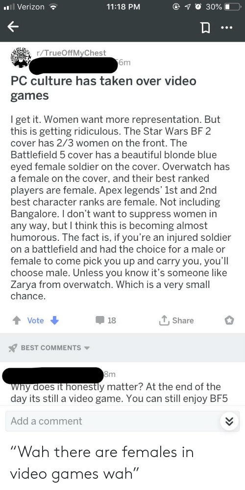 """Beautiful, Star Wars, and Taken: Verizon  11:18 PM  17 O 30%  r/TrueOffMyChest  6m  PC culture has taken over video  games  I get it. Women want more representation. But  this is getting ridiculous. The Star Wars BF 2  cover has 2/3 women on the front. The  Battlefield 5 cover has a beautiful blonde blue  eved female soldier on the cover. Overwatch has  a female on the cover, and their best ranked  players are female. Apex legends' 1st and 2nd  best character ranks are female. Not including  Bangalore. I don't want to suppress women in  any way, but I think this is becoming almost  humorous. The fact iS, IT you re an injured soldier  on a battlefield and had the choice for a male or  female to come pick you up and carry you, you'lI  choose male. Unless you know it's someone like  Zarya from overwatch. Which is a very small  chance  Vote  18  T,Share  BEST COMMENTS  y aoes it honestly matter? At the end of the  day its still a video game. You can still enjoy BF5  Add a comment """"Wah there are females in video games wah"""""""
