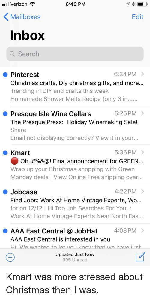 Verizon ? 649 PM Mailboxes Edit Inbox Searclh 634 PM > Pinterest ...