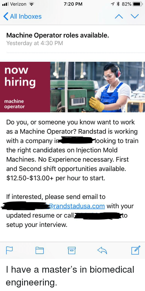 Verizon 720 PM All Inboxes Machine Operator Roles Available