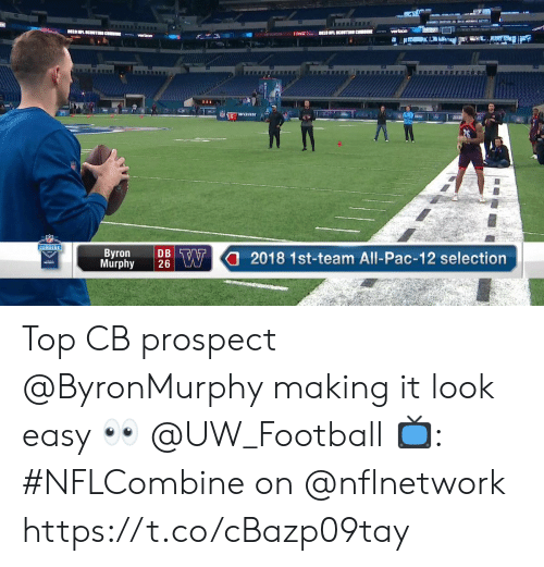 Football, Memes, and Verizon: verizon  COMBINE  Murphy 2 W2018 1st-team All-Pac-12 selection  Byron  DB Top CB prospect @ByronMurphy making it look easy 👀 @UW_Football  📺: #NFLCombine on @nflnetwork https://t.co/cBazp09tay