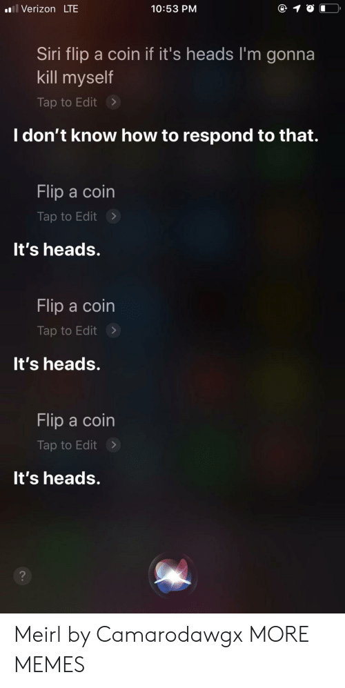 Dank, Memes, and Siri: Verizon LTE  10:53 PM  Siri flip a coin if it's heads I'm gonna  kill myself  Tap to Edit >  I don't know how to respond to that.  Flip a coin  Tap to Edit>  It's heads.  Flip a coin  Tap to Edit>  It's heads.  Flip a coin  Tap to Edit>  It's heads. Meirl by Camarodawgx MORE MEMES