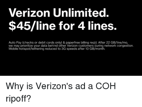 Verizon Unlimited $45line for 4 Lines Auto Pay Checks or Debit Cards