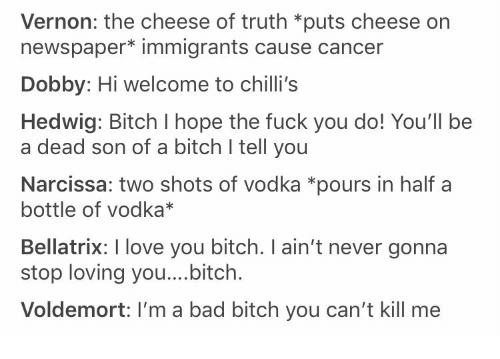 Bad, Bad Bitch, and Bitch: Vernon: the cheese of truth *puts cheese on  newspaper* immigrants cause cancer  Dobby: Hi welcome to chilli's  Hedwig: Bitch I hope the fuck you do! You'll be  a dead son of a bitch I tell you  Narcissa: two shots of vodka *pours in half a  bottle of vodka*  Bellatrix: I love you bitch. I ain't never gonna  stop loving you....bitch.  Voldemort: I'm a bad bitch you can't kill me