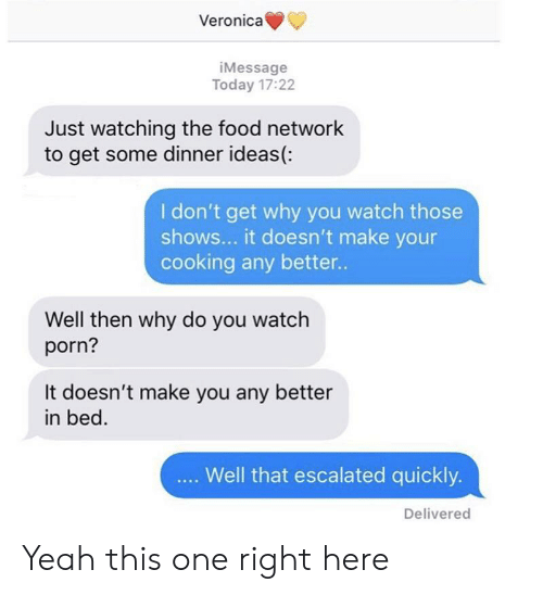 Veronica iMessage Today 1722 Just Watching the Food Network