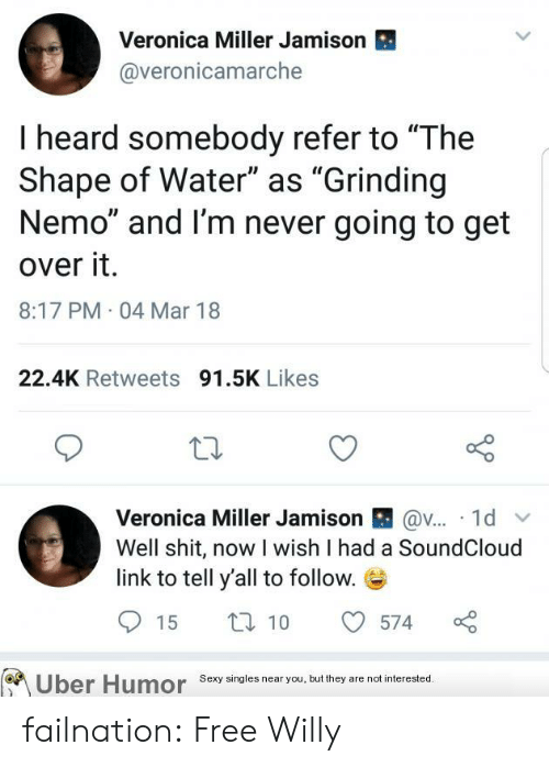 """Sexy, SoundCloud, and Tumblr: Veronica Miller Jamison  @veronicamarche  I heard somebody refer to """"The  Shape of Water"""" as """"Grinding  Nemo"""" and I'm never going to get  over it.  8:17 PM 04 Mar 18  22.4K Retweets 91.5K Likes  Veronica Miller Jamison囧@v.. 1d  Well shit, now I wish I had a SoundCloud  link to tell y'all to follow.E  15  10  574  o  Uber Humor Sexy singles near youbu they are not interested failnation:  Free Willy"""