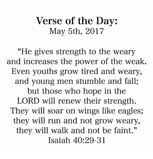 """Philadelphia Eagles, Fall, and Memes: Verse of the Day:  May 5th, 2017  """"He gives strength to the weary  and increases the power of the weak.  Even youths grow tired and Weary,  and young men stumble and fall,  but those who hope in the  LORD will renew their strength  They will soar on wings like eagles;  they will run and not grow weary,  they will walk and not be faint.""""  Isaiah 40:29-31"""
