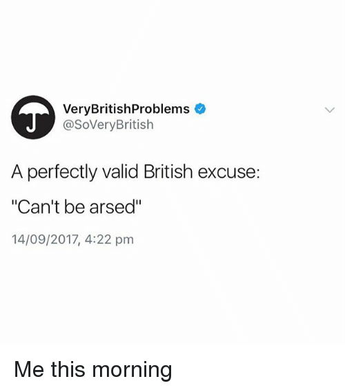 """British, This, and Morning: VeryBritishProblems  @SoVeryBritish  A perfectly valid British excuse:  """"Can't be arsed""""  14/09/2017, 4:22 pm Me this morning"""