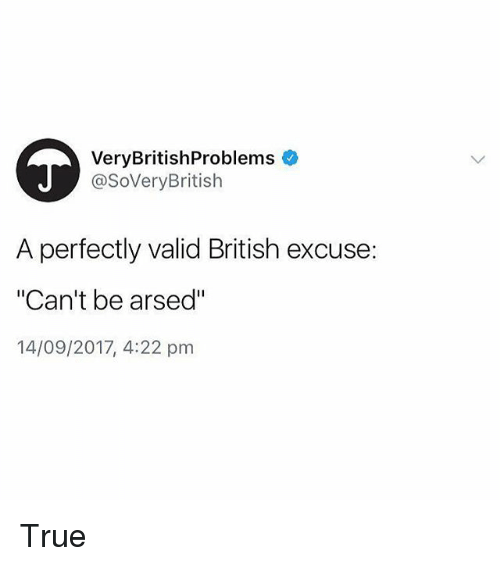 """Memes, True, and British: VeryBritishProblems  @SoVeryBritish  A perfectly valid British excuse:  """"Can't be arsed""""  14/09/2017, 4:22 pm True"""