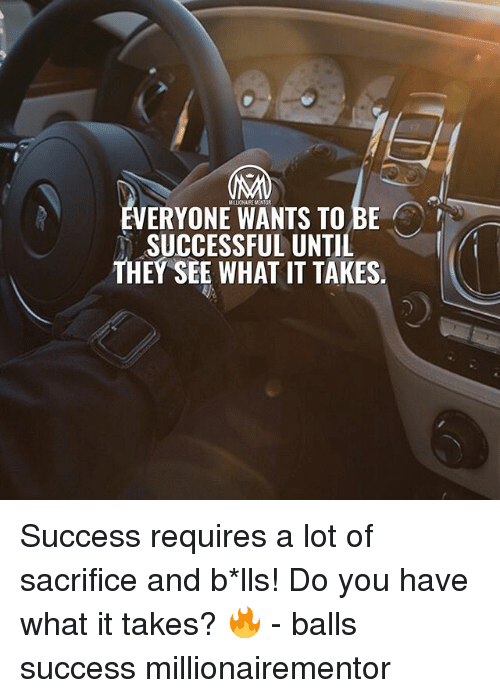 Memes, Success, and 🤖: VERYONE WANTS TO BE  SUCCESSFUL UNTIL  THEY SEE WHAT IT TAKES. Success requires a lot of sacrifice and b*lls! Do you have what it takes? 🔥 - balls success millionairementor