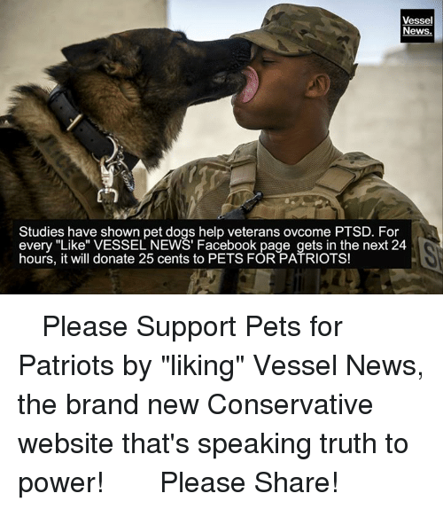 """Dogs, Facebook, and News: Vessel  News.  Studies have shown pet dogs help veterans ovcome PTSD. For  every """"Like"""" VESSEL NEWS' Facebook page gets in the next 24  hours, it will donate 25 cents to PETS FOR PATRIOTS! ☆ ☆ ☆ Please Support Pets for Patriots by """"liking"""" Vessel News, the brand new Conservative website that's speaking truth to power!  ☆ ☆ ☆    Please Share!"""