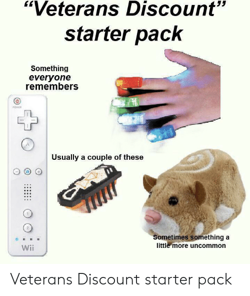 """Starter Pack, Wii, and Starter: """"Veterans Discount""""  starter pack  Something  everyone  remembers  Usually a couple of these  Sometimes something a  little more uncommon  Wii Veterans Discount starter pack"""
