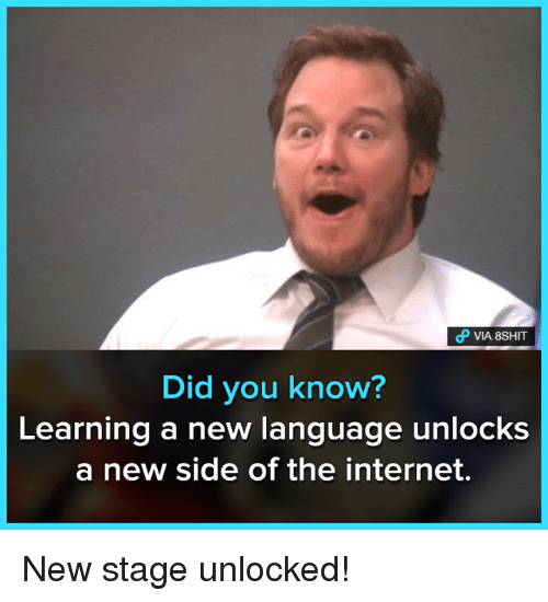 Internet, Memes, and 🤖: VIA 8SHIT  Did you know?  Learning a new language unlocks  a new side of the internet. New stage unlocked!