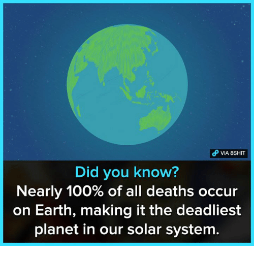 Anaconda, Memes, and Earth: VIA 8SHIT  Did you know?  Nearly 100% of all deaths occur  on Earth, making it the deadliest  planet in our solar system