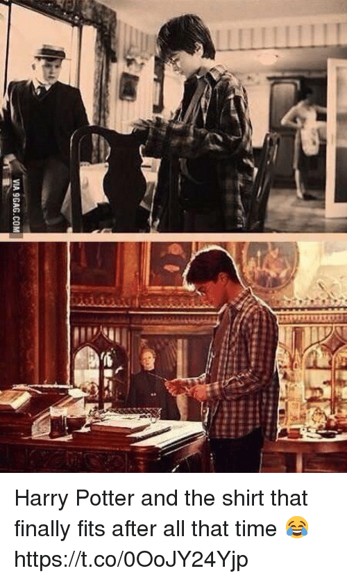 9gag, Harry Potter, and Memes: VIA 9GAG.COM Harry Potter and the shirt that finally fits after all that time 😂 https://t.co/0OoJY24Yjp