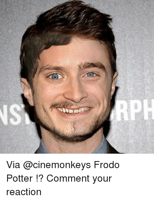 Memes, 🤖, and Potter: Via @cinemonkeys Frodo Potter !? Comment your reaction
