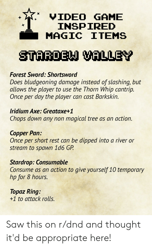 VIDEO GAME INSPIRED MAGIC ITEMS STARDE VALLEY Forest Sword