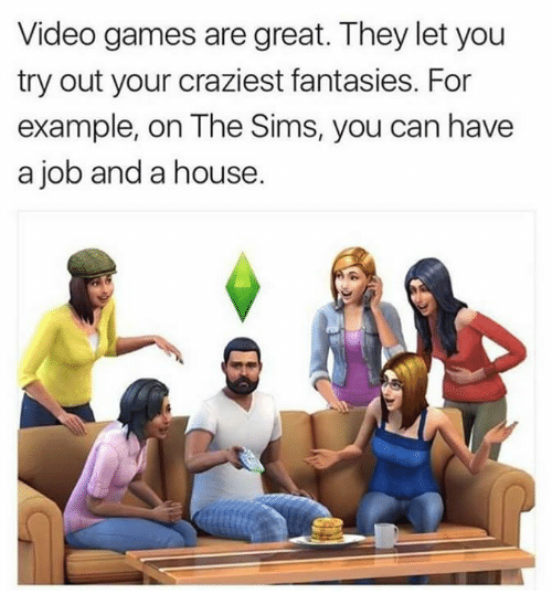 Memes, The Sims, and Video Games: Video games are great. They let you  try out your craziest fantasies. For  example, on The Sims, you can have  a job and a house.