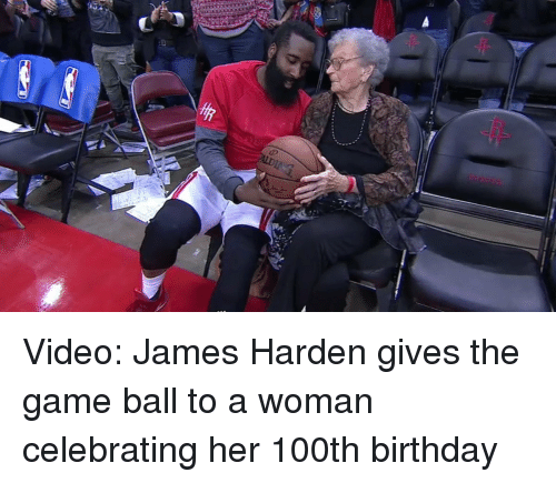 6ffca62c709 Video James Harden Gives the Game Ball to a Woman Celebrating Her ...