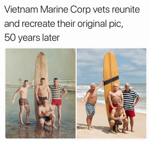Vietnam, Military, and Corp: Vietnam Marine Corp vets reunite  and recreate their original pic,  50 years later