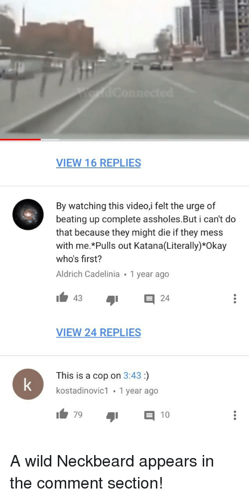 Okay, Video, and Wild: VIEW 16 REPLIES  By watching this video,i felt the urge of  beating up complete assholes.But i can't do  that because they might die if they mess  with me.*Pulls out Katana(Literally)*Okay  who's first?  Aldrich Cadelinia 1 year ago  43  VIEW 24 REPLIES  This is a cop on 3:43:)  kostadinovic1 1 year ago  79  10