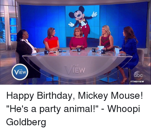 "Birthday, Memes, and Whoopi Goldberg: VIEw  IEW  #THE VIEW Happy Birthday, Mickey Mouse! ""He's a party animal!"" - Whoopi Goldberg"