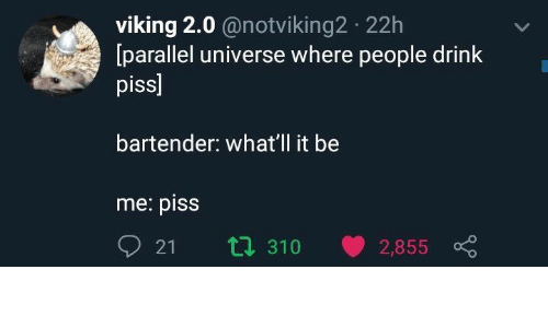 Viking, Universe, and Parallel: viking 2.0 @notviking2 22h  [parallel universe where people drink  piss]  bartender: what'll it be  me: piss  021 310 v 2,855