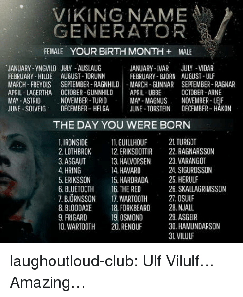 VIKING NAME GENERATOR FEMALE YOUR BIRTH MONTH + MALE JANUARY