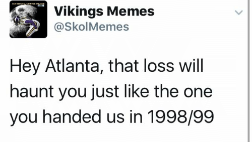 Memes, Vikings, and Viking: Vikings Memes  (a Skol Memes  Hey Atlanta, that loss will  haunt you just like the one  you handed us in 1998/99