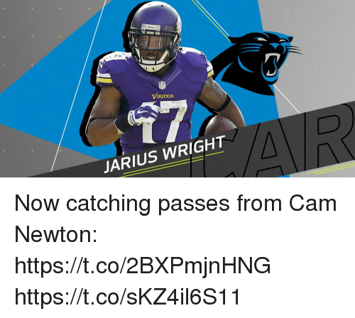 Cam Newton, Memes, and 🤖: ViKuDgS  JARIUS WRIGHT Now catching passes from Cam Newton: https://t.co/2BXPmjnHNG https://t.co/sKZ4il6S11