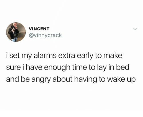 Memes, Time, and Angry: VINCENT  @vinnycrack  i set my alarms extra early to make  sure i have enough time to lay in bed  and be angry about having to wake up