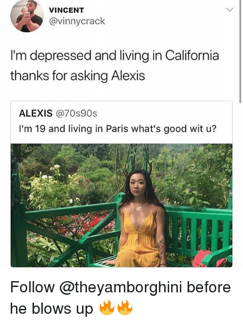 Memes, California, and Good: VINCENT  @vinnycrack  I'm depressed and living in California  thanks for asking Alexis  ALEXIS @70s90s  I'm 19 and living in Paris what's good wit u? Follow @theyamborghini before he blows up 🔥🔥