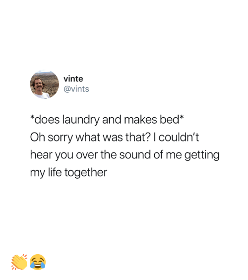 "Laundry, Life, and Sorry: vinte  @vints  ""does laundry and makes bed*  Oh sorry what was that? I couldn't  hear you over the sound of me getting  my life together 👏😂"