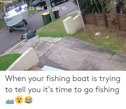 Time, Fishing, and Boat: ViralHo  201  19 Wed  : 45 When your fishing boat is trying to tell you it's time to go fishing 🛥😮😂