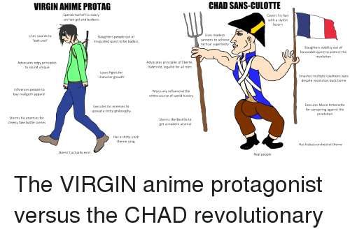 """Anime, Arsenal, and Fake: VIRGIN ANIME PROTAG  CHAD SANS-CULOTTE  Spends half of his salary  on hair gel and barbers  Covers his hair  with a stylish  bicorn  Uses swords to  look cool""""  Slaughters people out of  misguided quest to be badass  Uses modern  cannons to achieve  tactical superiority  Slaughters nobility out of  honorable quest to protect the  revolution  Advocates edgy principles  to sound unique  Advocates principles of liberté,  fraternité, legalité for all men  Loses fights for  character growth'  Smashes multiple coalitions wars  despite revolution back home  Influences people to  buy mallgoth apparel  Massively influenced the  entire course of world history  Executes his enemies to  spread a shitty philosophy  Executes Marie Antoinette  for conspiring against the  revolution  Storms his enemies for  cheesy fake battle scenes  Storms the Bastille to  get a modern arsenal  Has a shitty jrock  theme song  Has kickass orchestral theme  Doesn't actually exist  Real people The VIRGIN anime protagonist versus the CHAD revolutionary"""