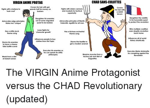 "Anime, Arsenal, and Clothes: VIRGIN ANIME PROTAG  CHAD SANS-CULOTTES  Covers his hair with gel  Fights with stolen cannons  and muskets for tactical  superiority  Covers  his hair with  a stylish  bicorn  Fights with a katan  g to  spends half his mone  y on  ""look cool'  barbers  Slaughters his enemies  out of some miguided  quest to be badass  Advocates princples of liberté,  fraternité, egalité for all men  Slaughters the nobility  in his honorable quest  to protect the revolution  Advocates edgy principles,  thinks he's 'unigue""  Has a shitty jrock  theme song  Loses fights for  'character growth'  Has a kickass orchestral  theme song  Wins multiple coalition  wars despite revolution  back home  Influences people to buy  clothes from Hot Topic  Influences all of world  history drastically  Storms his enemies  to have a cheesy  fake battle scene  Storms the Bastille to  get a modern arsenal  Executes his enemies so  he can speak his shitt  philosophy  Executes Marie Antoinette  for conspiring against the  Revolution  Weak from a diet  of instant ramen  Massive muscles from a  factory job and diet of  baguettes The VIRGIN Anime Protagonist versus the CHAD Revolutionary (updated)"